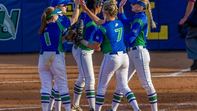 The Florida Gulf Coast University softball team, shown here playing No. 1 Florida State, won its Atlantic Sun Conference-opening series against Jacksonville on Sunday, March 26, 2017.