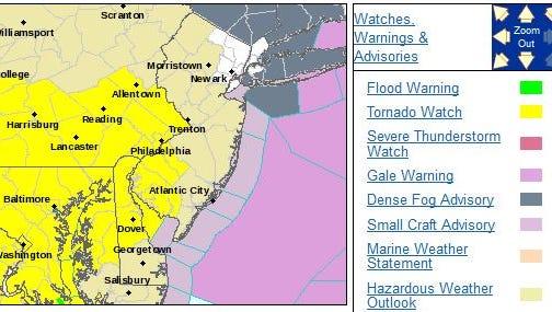Tornado watch is in yellow.