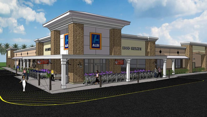 A rendering of the Aldi grocery store proposed in Estero, north of Estero Parkway.