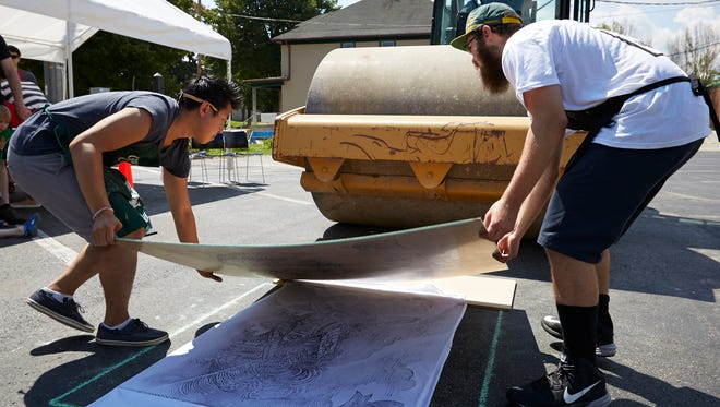 Artist Joseph Velasquez and his collaborators will use a steamroller to create large-scale prints both Saturday and Sunday during Midsummer Festival of the Arts at the John Michael Kohler Arts Center in Sheboygan.