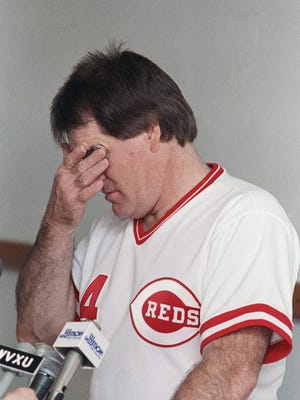 AP Photo Cincinnati Reds manager Pete Rose rubs his eyes at the start of his regularly scheduled post game press conference at Riverfront Stadium Sunday, June 26, 1989 in Cincinnati. A. Hamilton County Common Pleas court judge granted Rose a temporary restraining order giving him 14 more days before he would have to appear before commissioner A. Bartlett Giamatti. (AP Photo/Rob Burns)