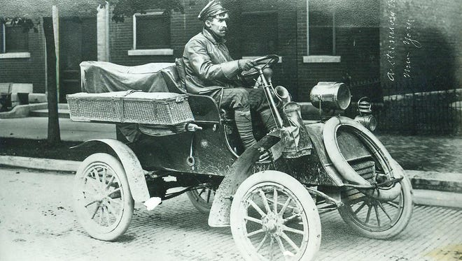 "Richmond's Will Vaughn reveled in his new 1903 two cylinder ""mechanized"" vehicle, basically a buggy with a motor. On July 4, 1904, Vaughn and two ""combustion engine"" enthusiasts spent the entire day ""motoring"" to Dayton, Ohio. On October 10, Vaughn left Richmond to drive to the Pacific Coast, accompanied by his dog and Loren Whitesell. It took over a week. Emblazoned on the back of his ""horseless carriage"" was ""California or bust."" That same year a combustion engine speeder broke the law dashing through Richmond, which is today's story."