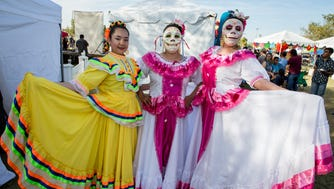 These dancers wore beautiful dresses at Dia de los Muertos Phx Festival at Steele Indian School Park on Sunday, October 23, 2016.