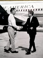 President John F. Kennedy is greeted by Palm Springs Mayor Frank Bogert in 1962  as he steps off Air Force One.
