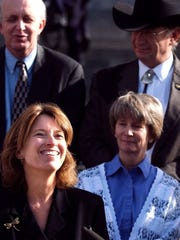 Alice Madden, is shown in this file photo of a news conference on the west steps of the state Capitol, Monday, Dec. 1, 2003. AP Photo/Rocky Mountain News, Marc Piscotty)