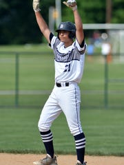 Dallastown pitcher Nick Parker reacts after connecting fora a double against State College during the PIAA Class 6A baseball semifinals, Monday, June 12, 2017. John A. Pavoncello photo