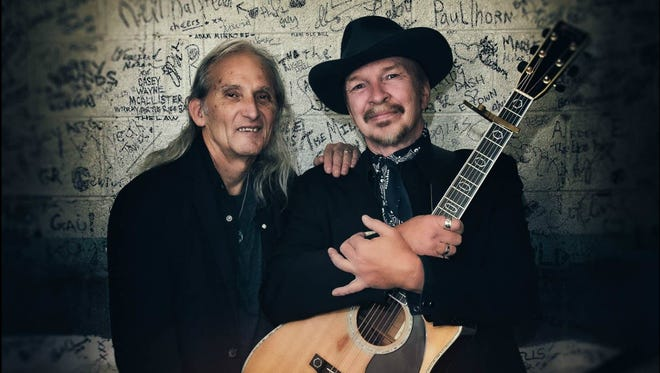 Jimmie Dale Gilmore and Dave Alvin perform together at Hangar Theatre in Ithaca on Wednesday night.