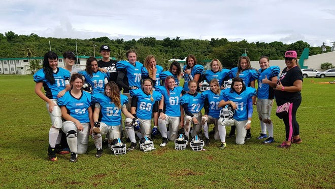 The visiting Russian Cobras, a women's American Football team who played Guam's Legacy on Saturday, Sept. 16.