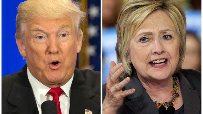 Republican presidential nominee Donald Trump will be playing catchup when he holds a rally Monday night in swing state Ohio, where he trails Democrat Hillary Clinton by 4 points in a new Monmouth University poll. (AP Photo/Mary Altaffer, Chuck Burton)
