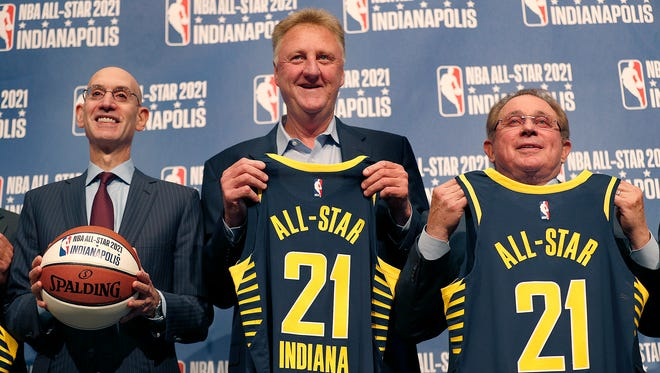 NBA commissioner Adam Silver,left, Larry Bird and Pacers owner and CEO Herb Simon, pose for a photo following the announcement of the 2021 NBA All-Star game will be coming to Indianapolis, Wednesday, Dec 13, 2017.