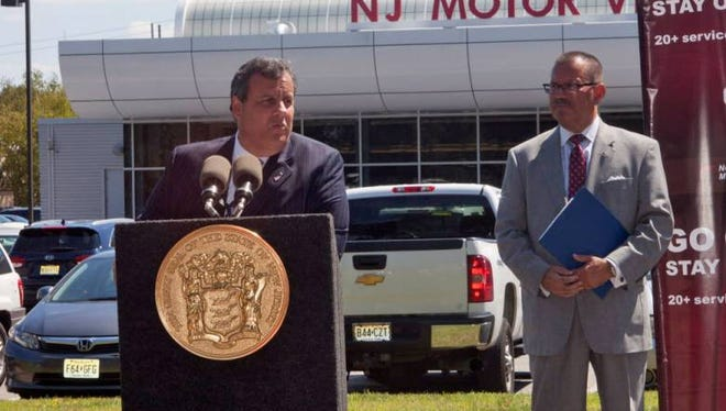 Gov. Chris Christie speaks at a press conference with Raymond P. Martinez, chairman and chief administrator of the MVC,  at the New Jersey Motor Vehicle Commission complex in Randolph.