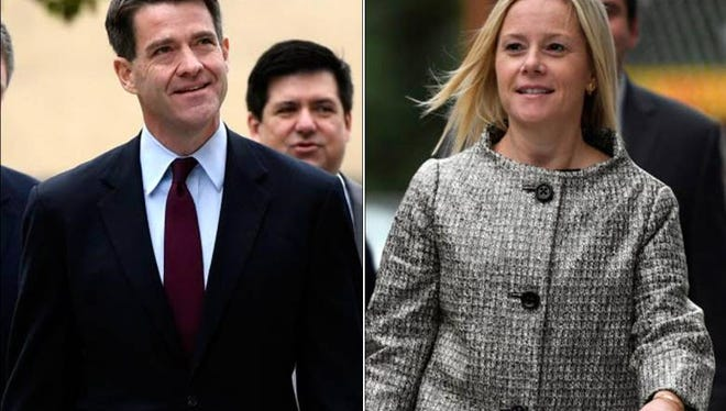 Bridgegate defendants Bill Baroni and Bridget Anne Kelly appear outside federal court earlier this month.