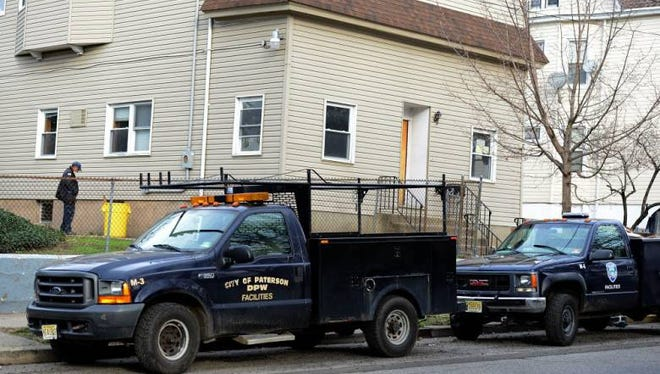 A Paterson public works truck outside the Montgomery Street building when it was being converted for use as a prison reentry program.