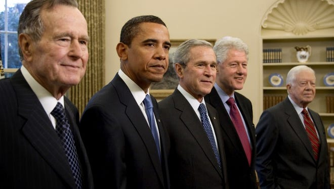 The five living presidents at the White House on Jan. 7, 2009, two weeks before President Barack Obama was sworn in.