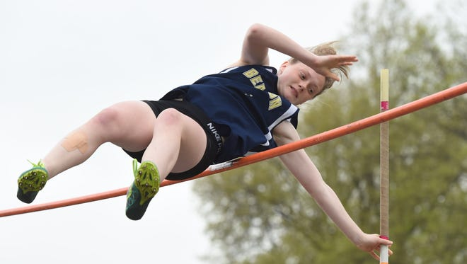 Beacon's Anna Manente completes a pole vault during the 12th Annual Beacon Steeplechase Jumpfest at Beacon High School.
