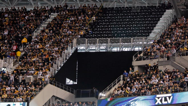 A section of temporary seats, deemed unsafe, remain empty before the start of Super Bowl XLV between the Green Bay Packers and the Pittsburgh Steelers  at Cowboys Stadium  in Arlington, Texas, in 2011.