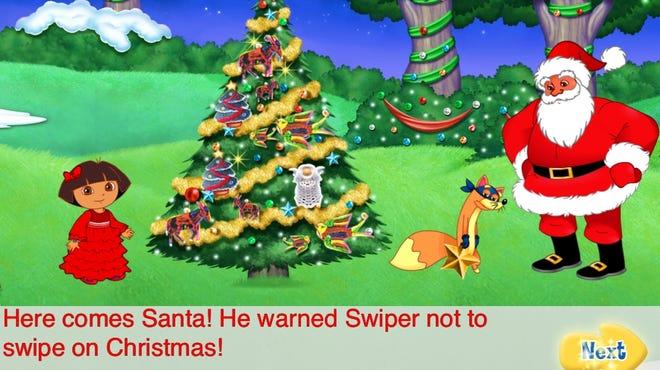 "Kind-hearted Dora helps Swiper the fox get off of Santa's ""naughty"" list in ""Dora's Christmas Adventure."""