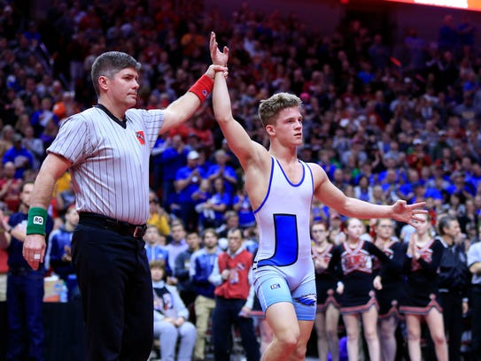 Alex Thomsen of Underwood wins the state championship