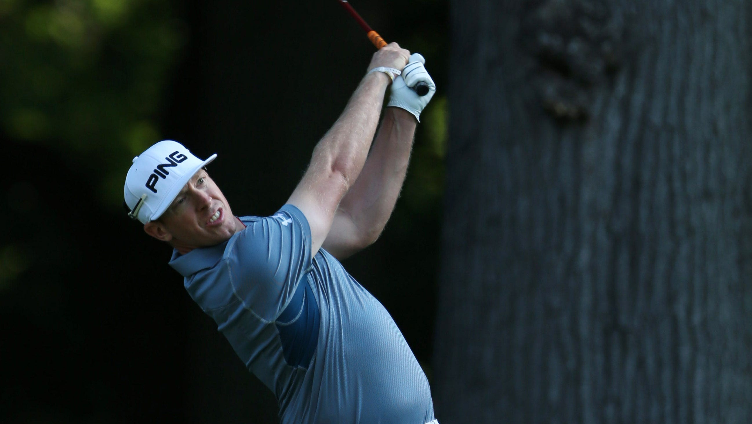 Hunter Mahan tees off on the 5th hole during the practice round of the 95th PGA Championship at Oak Hill Country Club.