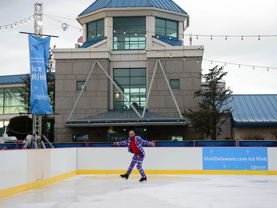 "Peter Briccotto, tests out the ""Visit Delaware Ice Rink"" at the Winter Wonderfest Center located at the Cape May-Lewes Ferry Terminal and also in the Cape Henlopen State Park. That will run Nov. 17 to December 31, 2017."