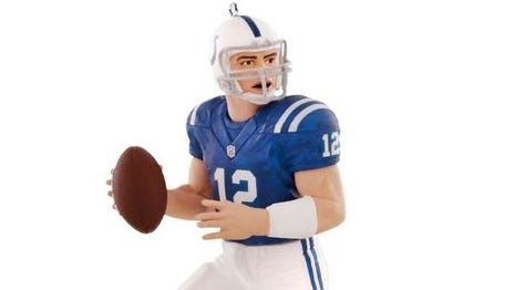 Colts quarterback Andrew Luck is available in ornament form, but no neard.