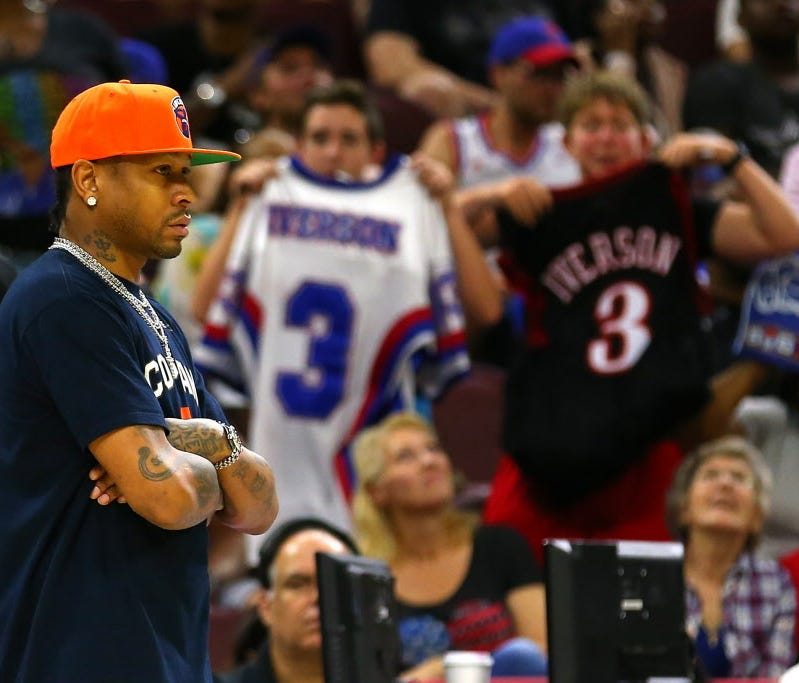 Allen Iverson of 3's Company looks on from the bench against Tri-State during Week 4 of the Big3 league.