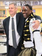 Westside High School Principal Kory Roberts, right,