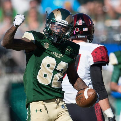 Rashard Higgins of CSU celebrates after a completion