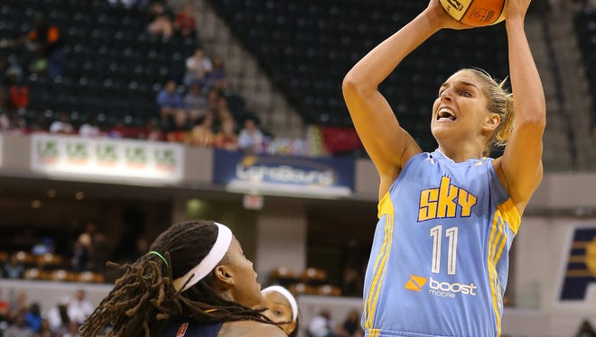 Chicago Sky forward Elena Delle Donne shoots against the Indiana Fever during the opening game of the WNBA basketball Eastern Conference finals, Saturday, Aug. 30, 2014, in Indianapolis. The Fever won 77-70.