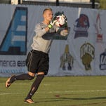 Binghamton University men's soccer goalkeeper Robert Moewes in action against Marist University at the Bearcats Sports Complex, Monday, September 1, 2014.