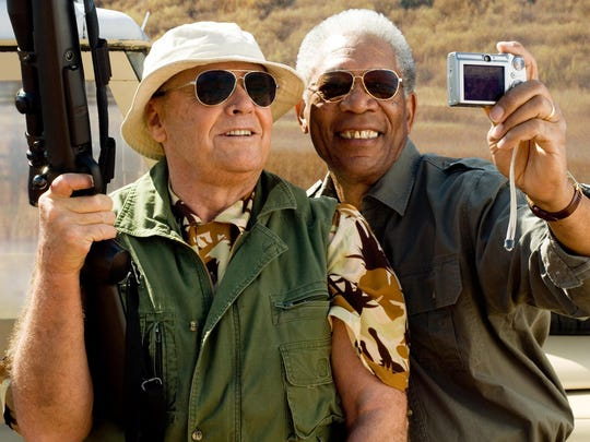 "Morgan Freeman takes a selfie with his left hand in a a scene from the motion picture ""Bucket List."""