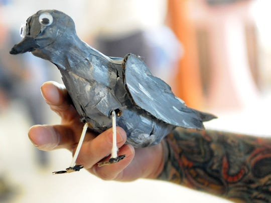 "Props for the play ""Shawshank Redemption"" at Ross Correctional Institution, like this bird, were made mostly from cardboard and paint."