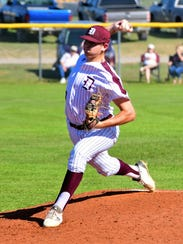 De Leon's Bryce Whiteley delivers a pitch during DHS' 7-5 win over Goldthwaite on April 10.