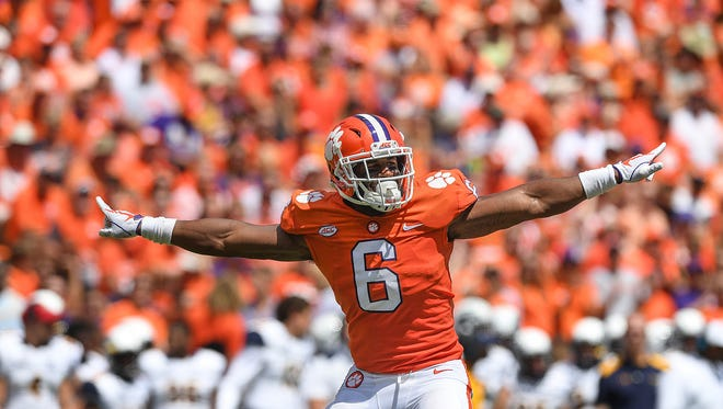 Clemson linebacker Dorian O'Daniel (6) reacts after a defensive stop against Kent State during the 2nd quarter on Saturday, September 2, 2017 at Clemson's Memorial Stadium.