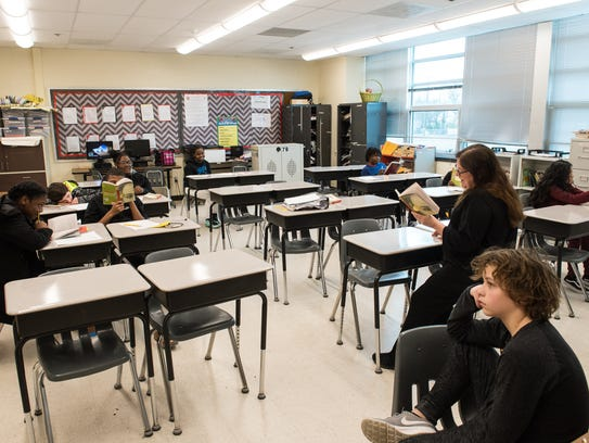 A view of a small classroom at Wicomico Middle School