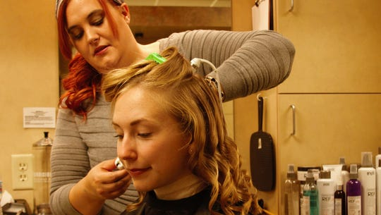 Mid-State Cosmetology student Margaret Weber using
