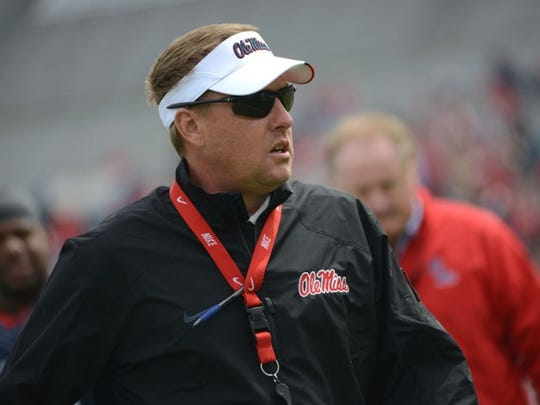 Ole Miss Head Coach Hugh Freeze gets ready for the start of the Grove Bowl in Oxford.
