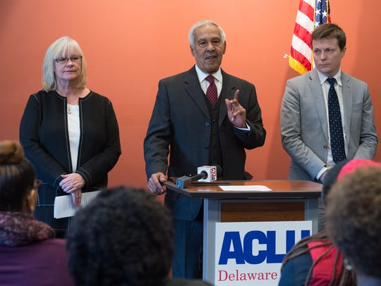 Jea Street, president of Delawareans for Educational Opportunity, speaks during a press conference concerning ACLU Delaware's lawsuit challenging the state's allocation of resources to schools.