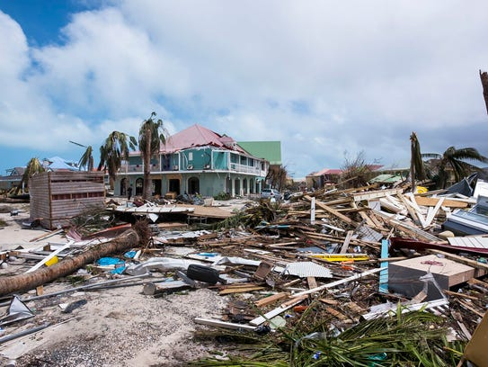 Some of the damage in Orient Bay on the French Carribean