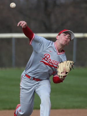 Canandaigua starting pitcher Tanner Cooper in first inning action.