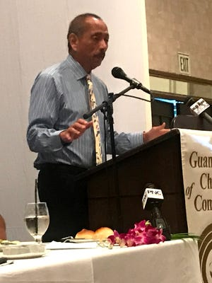 Speaker Benjamin Cruz addresses the Guam Chamber of Commerce on Wednesday, Feb. 22.