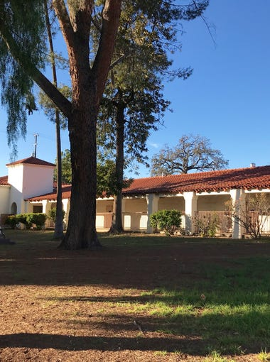 Outside view of the old Nordhoff Grammar School arcade facing Ojai Avenue. This portion is preserved under a recent vote taken by the Ojai City Council.