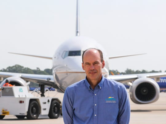 Jeff Mulder, the new executive director of Lee County Port Authority, on the airfield at Southwest Florida International Airport.