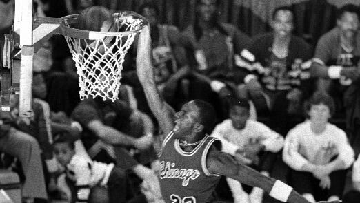 Michael Jordan wowed the crowd at Market Square Arena in the 1985 NBA Slam Dunk Contest during the All-Star weekend Feb. 9, 1985