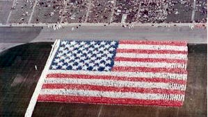 """A """"Living Flag"""" ceremony in Soldier Field, Chicago in 1967 was part of a 50-year anniversary celebration of a 1917 similar event."""