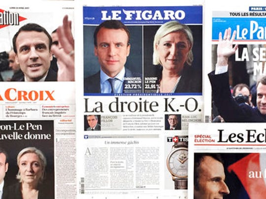 A montage of French national newspaper front pages