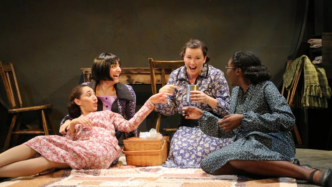 "Left, Jasmine Vizena, JamieLynn Bucci, Amy Hughes and Katherine Oni in ""These Shining Lives."""