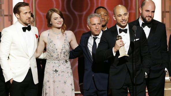 (L-R) Ryan Gosling, Emma Stone, Marc Platt, John Legend,