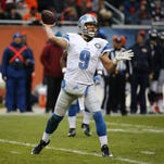 Lions quarterback Matthew Stafford (9) looks to throw a pass against the Bears on Jan. 3 in Chicago. The Lions won the game, 24-20.