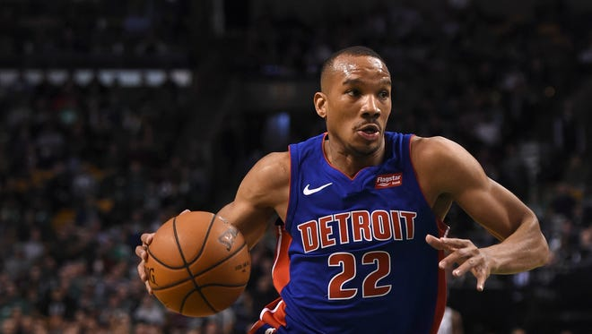 Pistons guard Avery Bradley moves up the court during the first half against the Celtics on Monday, Nov. 27, 2017 in Boston.